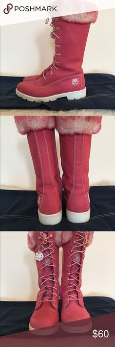 Hot Pink Timberland Tall Fur Boots Clean! Pink Timberland Tall Fur Boots with white 1in. heel and base. Side zipper as well as pink/white laces in front for tailored fitting. Authentic Timberland signature tassel. I'll miss these buggers! Happy KLoZeT Shopping! Timberland Shoes Lace Up Boots Fur Boots, Lace Up Boots, Shoe Boots, White Lace, Pink White, Hot Pink, Pink Timberlands, Black Glitter, Fashion Design