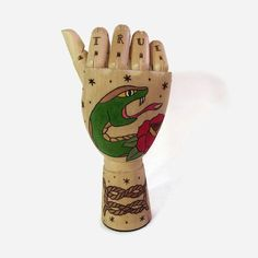 Wood Burned Tattooed Mannequin Hand  by Memoriesfromashore on Etsy