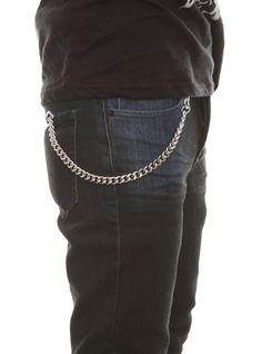 32c948a1c61 This silver tone basic wallet chain features circle ring and lobster  closure ends. 12