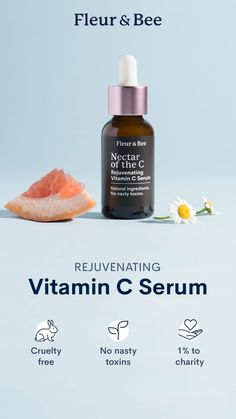 Made With Natural Ingredients. This Vitamin C facial serum is full of powerful antioxidants that will brighten, tighten and rejuvenate your skin. 🐰 Cruelty-Free 🌿 No Nasty Toxins 🌎 Donated Natural Facial, Natural Skin Care, Natural Beauty, Diy Skin Care, Skin Care Tips, Natural Vitamin C, Bussiness Card, Web Design, Cosmetic Design