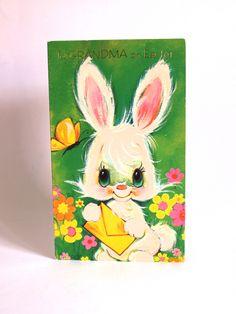 Easter Bunny Card - Vintage Kitsch To Grandma Cute Bunny Rabbit Flower Power Greeting Card - Unused! by FunkyKoala on Etsy