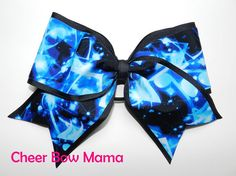 Blue & Black Music Notes Cheer Bow by Cheer Bow Mama