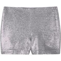 MANGO Sequin Shorts (2,110 THB) ❤ liked on Polyvore featuring shorts, side zip shorts, sequin shorts and mango shorts