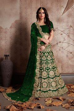 d6761fec02642 Buy Dark Green Color Velvet Silk Semi Stitched Lehenga