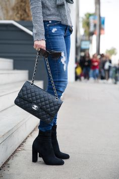 Grey Sweater Weather, Storetsonme, Steve Madden Edit boot, Chanel Bag,  Winter Style
