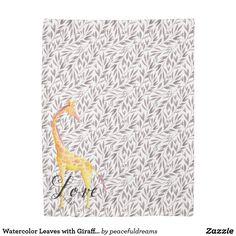 Watercolor Leaves with Giraffe Love Duvet Cover