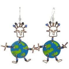 This handmade novelty pair of dancing girl earrings features a playful world design made from recycled tin can and copper wire, accented with colorful Maasai beads. Earrings hang approximately 2 inches. Handmade Jewelry Designs, Handcrafted Jewelry, Earrings Handmade, Handmade Ideas, Unique Earrings, Fair Trade Jewelry, Girls World, Girls Earrings, Girl Dancing