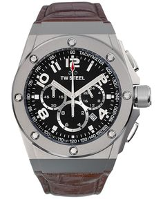 Tw Steel Unisex Chronograph Ceo Tech Brown Leather Strap Watch 44mm CE4013