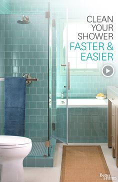 Watch How to Clean a Shower in the Better Homes and Gardens Video - use equal parts vinegar and liquid dish soap. They also say to use dishwashing rinse agent on the walls and shower doors to keep it clean.....watch video for instructions.