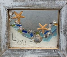 Beach Glass Love message in the sand. by beachcreation on Etsy Sea Glass Crafts, Sea Crafts, Sea Glass Art, Seashell Art, Seashell Crafts, Starfish, Deco Nature, Creation Deco, Sea Art