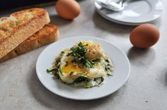 Baked spinach eggs.