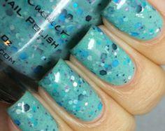 Proud Peacock Nail Polish - Teal Confetti Glitter Nail Polish - 0.5 oz Full Sized Bottle