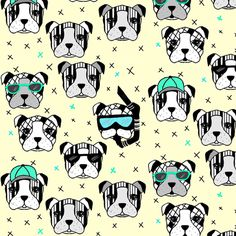 Dogs summer edition soft yellow fabric by miamea on Spoonflower - custom fabric