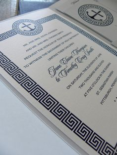 greek key border (minus the design up top) on a simple invite that focuses more on the typography.