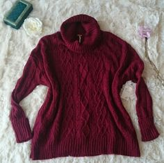 FREE PEOPLE COMPLEX CABLE KNIT PULLOVER Rustic and vintage-y pullover sweater that you can use all seasons!  Great for cool spring and summer nights or layer with thermals on winter! Comes in deep red color. See pic for the labels. The holes are intentional to create a worn and vintage look.   *As always, feel free to make me a reasonable offer :) Free People Sweaters Cowl & Turtlenecks