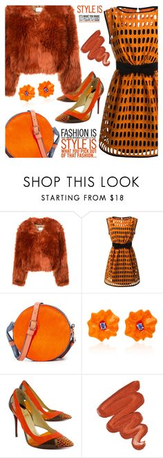 """Pumpkin Spice"" by jan31 ❤ liked on Polyvore featuring Maison Margiela, Moschino, Diane Von Furstenberg, Sabbadini, Christian Louboutin, Obsessive Compulsive Cosmetics, monochrome, Pumps and pumpkinspice"
