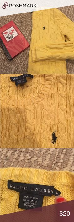 RALPH LAUREN YELLOW CABLE KNIT SWEATER Effect condition yellow sweater with navy blue colored logo on front super warm and cozy fast shipping follow for deals bundle for discount Ralph Lauren Sweaters Crew & Scoop Necks