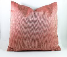 Coral Chevron Silk Pillow Cover 18x18 inch Decorative Throw Pillow with Silver accent, Luxury Home decor.