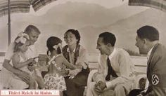 A few of Hitler's visitors at the Berghof. On the left, a visit on the terrace from the Goebbels family (the woman in the centre is Heinrich Hoffmann's wife Erna).