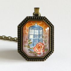 The TARDIS and Rose  Doctor Who  Watercolor Art by TresAudra
