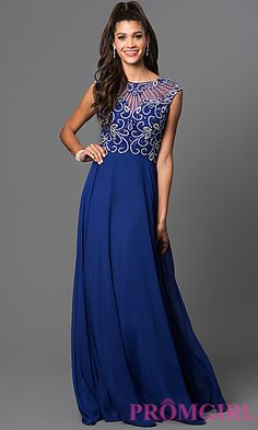 Illusion Bodice Floor Length Prom Dress with Bead Detailing by Elizabeth K -PromGirl at PromGirl.com