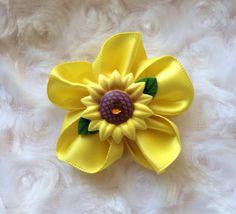 Yellow Sunflower Hair Clip Sunflower Hair Bow, Girls Alligator Clip, Hair Accessories, Accessory, Women, Girls, Infant, Toddler, Headband Clip  by BandsForBabes, $3.00
