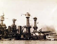 80-G-32930: USS West Virginia (BB 48) and USS Tennessee (BB 43) after the Japanese attack on Pearl Harbor, 7 December 1941.