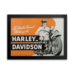 Quadro Harley-Davidson 1947 - Decoração - Machine Cult - Kustom Shop   A loja das camisetas de carro e moto