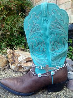 Silver, Turquoise, and Crosses Boot Bling. Handmade and packaged in a cute gift bag. by FireSpiritandSoul on Etsy