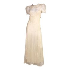 1930's Embroidered Cream Net Gown | From a collection of rare vintage day dresses at https://www.1stdibs.com/fashion/clothing/day-dresses/