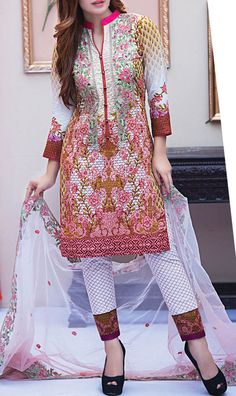 Buy Multicolor Embroidered Cotton Lawn Dress by Kalyan 2016