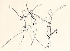 Three Dancers, pen and ink line drawing