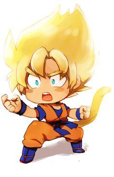 DBZ Goku super sayian just without the tail Dragonball Z, Dbz, Goku Y Vegeta, Chibi Goku, Anime Chibi, Son Goku, Naruto, Fan Art, Goku Super
