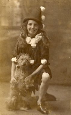A pierot and her dog | Found image. A rather battered card o… | Flickr