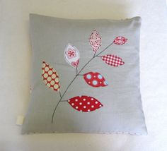 Cushion cover red leaves on a branch free motion by tailorbirds, $32.00