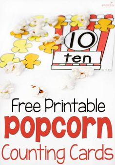 These free printable popcorn counting mats are so adorable and will be loved by your preschoolers and kindergartners! They are a fun way to practice counting to 10 while serving a snack! Try these fun math kid's activities today! Carnival Activities, Math Activities For Kids, Counting Activities, Math For Kids, Educational Activities, Math Games, Carnival Crafts, Educational Software, Carnival Ideas