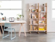 Support your local economy when you order the Open Desk Linnea Custom Bookshelf which features durable birch ply wood.