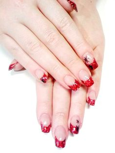 Red glitter french