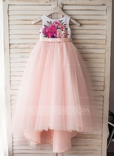 A-Line/Princess Scoop Neck Tea-length Bow(s) V Back Satin Tulle Sleeveless Flower Girl Dress Flower Girl Dress
