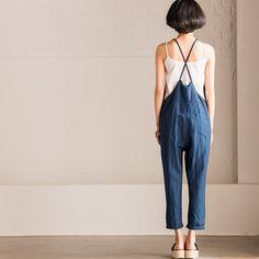 Summer Dark Blue Causel Cotton Linen Overalls Trousers Women Clothes