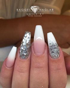 French fade with silverflakes & glitter on natural(!!) nails