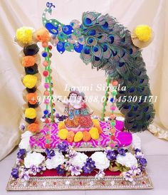 Designer Krishna Jhula Contact us : 9871111388 (call & whats app) Janamashtami Decoration Ideas, Ganpati Decoration Design, Arti Thali Decoration, Mandir Decoration, School Board Decoration, Ganapati Decoration, Basket Decoration, Diwali Decorations, Festival Decorations