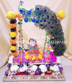 Designer Krishna Jhula Contact us : 9871111388 (call & whats app) Janamashtami Decoration Ideas, Arti Thali Decoration, Ganpati Decoration Design, Mandir Decoration, Ganapati Decoration, Diy Diwali Decorations, Happy Janmashtami Image, Janmashtami Images, Krishna Birthday