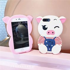 3D Cartoon Pig Soft Silicone Phone Case Cover For iPhone 5 6 7 Plus Samsung S8