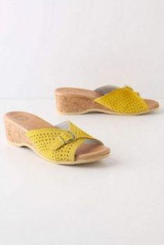 Anthropologie Ramona Buckle Slides Sz 39, Yellow Leather, Cork Heel, Lucky Penny #LuckyPenny #Slides #Casual