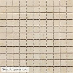 Master bath shower floor, ceiling and window interiorDaltile Marble 1 X 1 - Crema Marfil Classico Honed Mosaic Tile Flooring