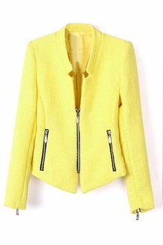 ROMWE | Zippered Skinny Yellow Coat, The Latest Street Fashion