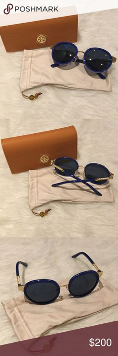 NWT Tory Burch Round Sunglasses Woven detailing and stamped logos highlight the temples of these retro-chic sunglasses in a stunning rounded silhouette.  52-19-135mm. Frame color: Gold-blue, lens color: blue, frame material: acetate, lens type: plastic.  100% UV protection.  Hard case and soft case that doubles as cleaning cloth included.  Brand new in packaging. Tory Burch Accessories Sunglasses