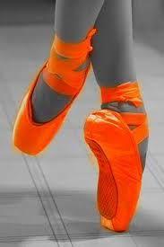 Orange pointe shoes!