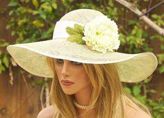 wide brimmed  bridal hats   Wide Brim Kentucky Derby Hat. Wedding Hat. Garden Party, Tea Party Hat ...